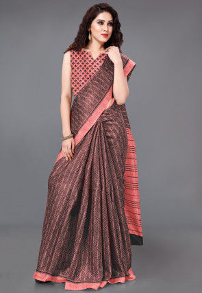 Printed Cotton Silk Saree in Brown and Peach