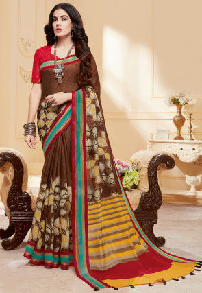 Printed Cotton Silk Saree in Brown