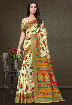 Printed Cotton Silk Saree in Cream
