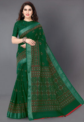 Printed Cotton Silk Saree in Dark Green