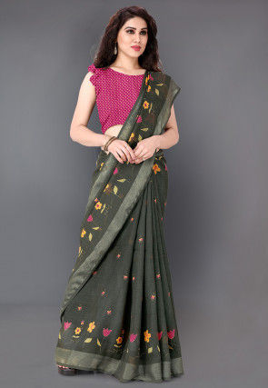 Printed Cotton Silk Saree in Dark Grey