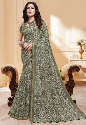 Printed Cotton Silk Saree in Dusty Green
