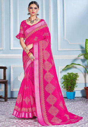 Printed Cotton Silk Saree in Fuchsia