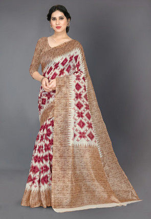 Printed Cotton Silk Saree in Light Beige and Red