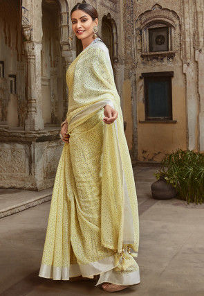 Printed Cotton Silk Saree in Light Yellow