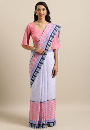 Printed Cotton Silk Saree in Lilac and Pink