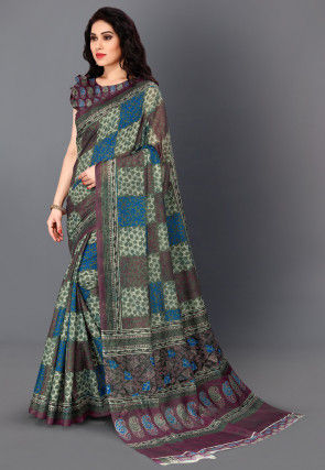 Printed Cotton Silk Saree in Magenta and Blue