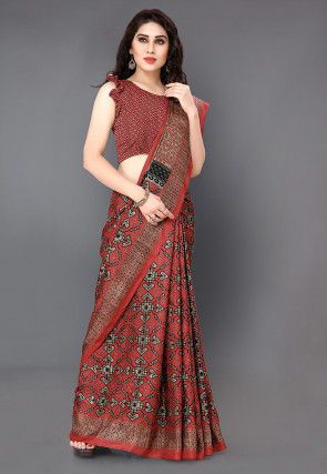 Printed Cotton Silk Saree in Maroon