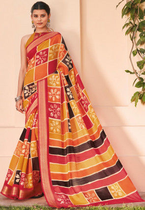 Printed Cotton Silk Saree in Multicolor