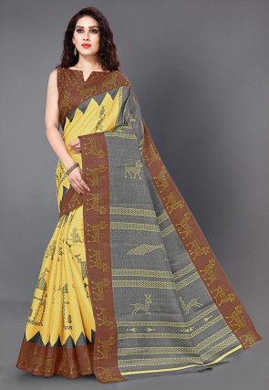 Printed Cotton Silk Saree in Mustard