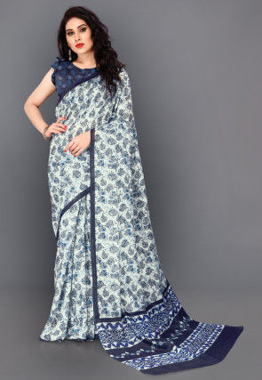 Printed Cotton Silk Saree in Off White and Blue