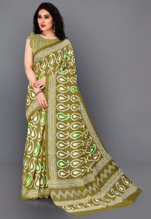 Printed Cotton Silk Saree in Olive Green