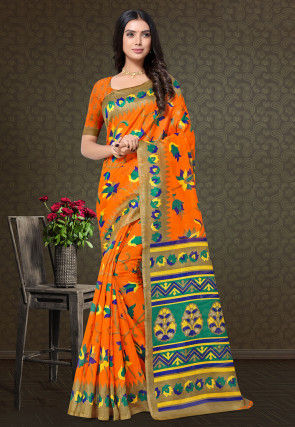 Printed Cotton Silk Saree in Orange