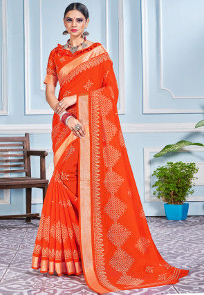 Printed Cotton Silk Saree in Orange