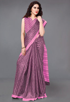 Printed Cotton Silk Saree in Pink and Wine