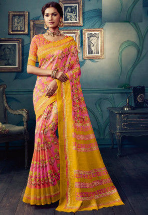 Printed Cotton Silk Saree in Pink and Yellow