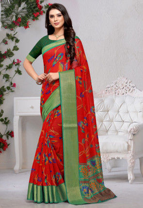 Printed Cotton Silk Saree in Red