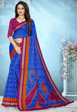 Printed Cotton Silk Saree in Royal Blue