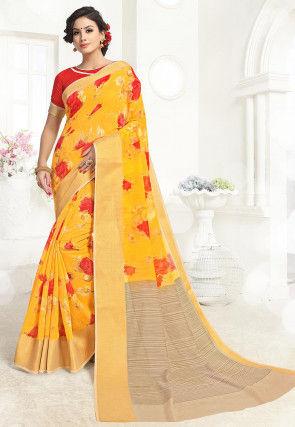 Printed Cotton Silk Saree in Yellow