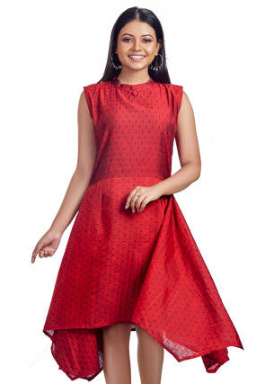 Printed Cotton Slub Asymmetric Dress in Red