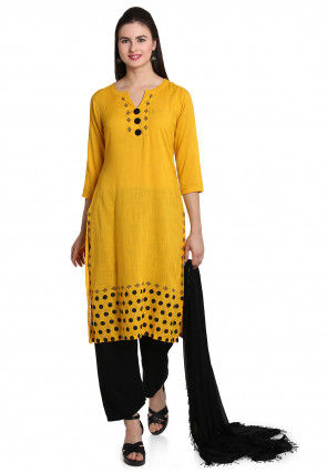 Printed Cotton Slub Pakistani Suit in Yellow