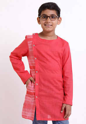 Printed Cotton Slub Side Button Down Kurta in Peach