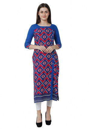 Printed Cotton Straight Kurta in Blue and Red