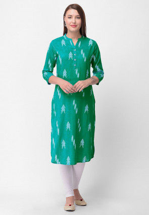 Printed Cotton Straight Kurta in Sea Green