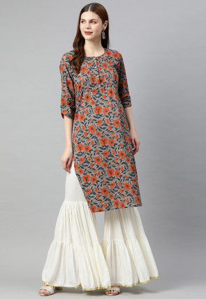 Printed Cotton Straight Kurta in Grey