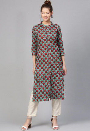 Printed Cotton Straight Kurta in Light Green and Red