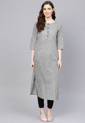 Printed Cotton Straight Kurta in Light Grey