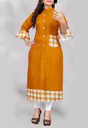 Printed Cotton Straight Kurta in Mustard