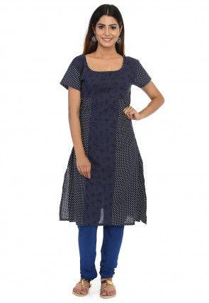 Printed Cotton Straight Kurta in Navy Blue