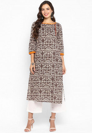 Printed Cotton Straight Kurta in Off White and Brown