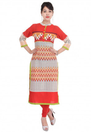 Printed Cotton Straight Kurta in Red and Off White