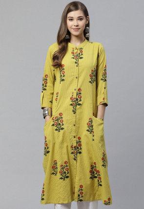 Printed Cotton Straight Kurta in Yellow