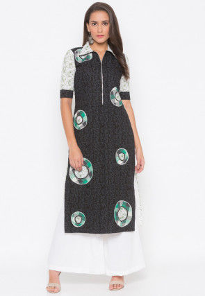 Printed Cotton Straight Kurta Set in Black and Off White