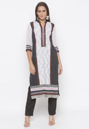 Printed Cotton Straight Kurta Set in Black and White