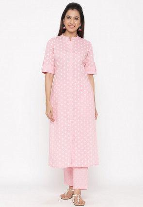 Printed Cotton Straight Kurta Set in Pink