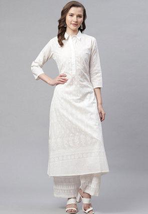Printed Cotton Straight Kurta Set in White