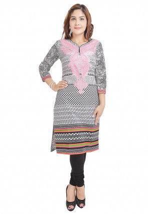 Printed Cotton Straight Kurti in Black and White