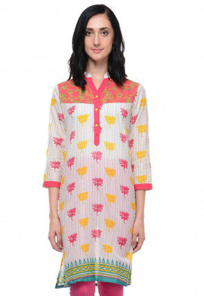 Printed Cotton Straight Kurti in White and Pink