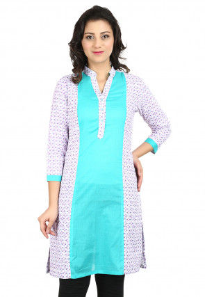Printed Cotton Straight Kurti in White and Turquoise