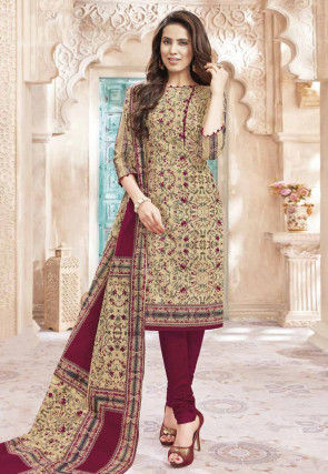Printed Cotton Straight Suit in Beige