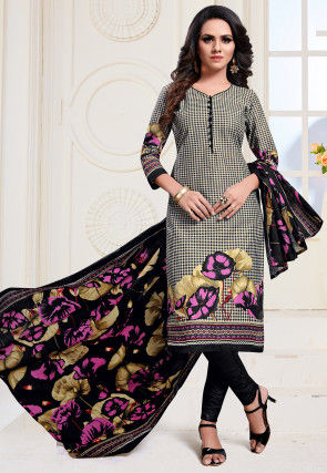 Printed Cotton Straight Suit in Black and Beige