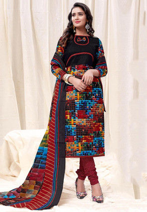Printed Cotton Straight Suit in Black and Multicolor