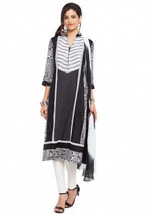 Printed Cotton Straight Suit in Black