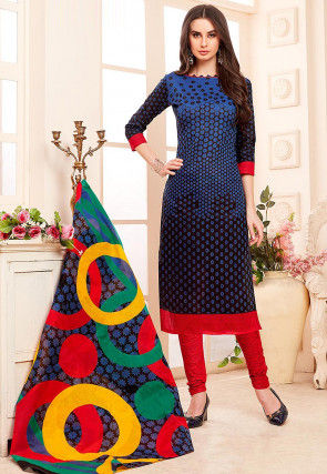 Printed Cotton Straight Suit in Blue and Black