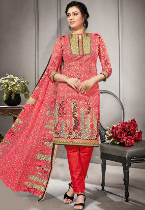 Printed Cotton Straight Suit in Coral Pink