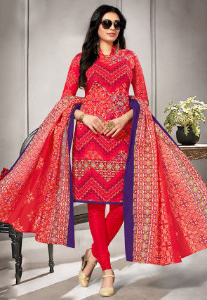 Printed Cotton Straight Suit in Coral Red
